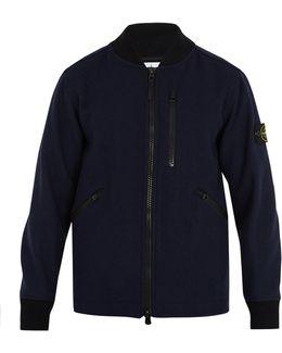 Contrast-collar Wool-blend Bomber Jacket