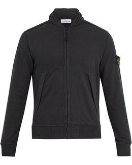 Concealed-hood Zip-through Cotton Sweatshirt