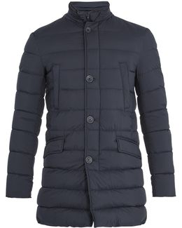 Detachable-placket Quilted-down Coat