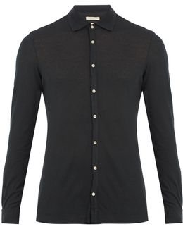 Spread-collar Cotton And Cashmere-blend Shirt