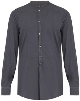 Granddad-collar Modal And Cotton-blend Shirt