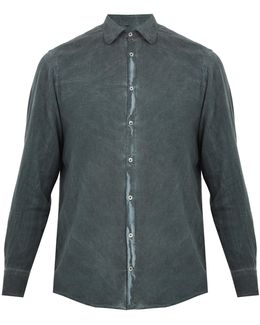 Spread-collar Brushed-twill Shirt