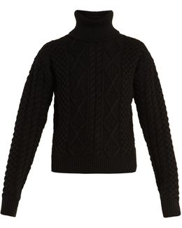 Roll-neck Aran-knit Wool Sweater