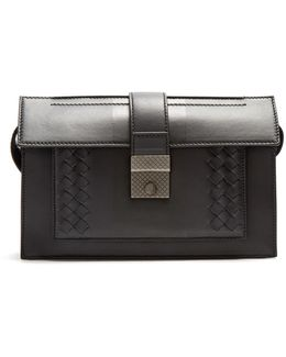 Intrecciato-trimmed Leather Pouch
