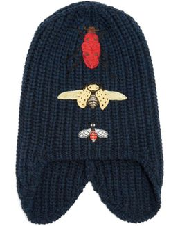 Insect-embroidered Wool Beanie Hat