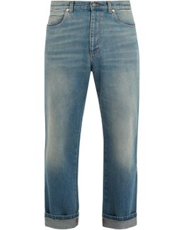 Stone-washed Straight-leg Jeans