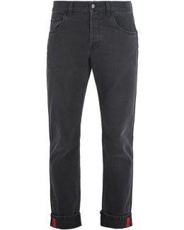 Web-striped Slim-leg Jeans
