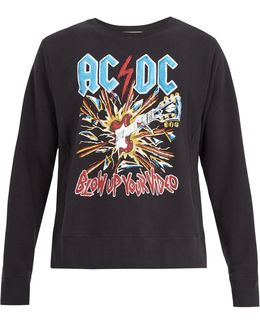Ac/dc-print Crew-neck Cotton Sweatshirt