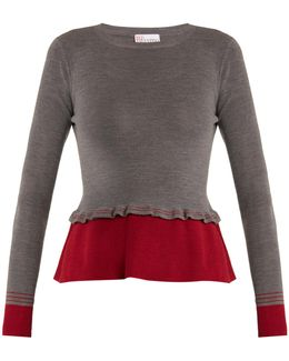 Peplum Contrast-hem Wool Sweater