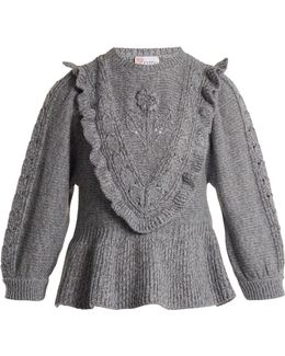 Balloon-sleeved Wool-blend Sweater