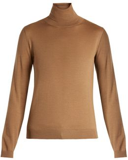 Roll-neck Cashmere-blend Sweater