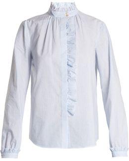 Striped Ruffle-trimmed Cotton Shirt