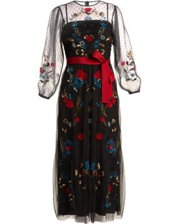 Floral-embroidered Sheer Tulle Dress