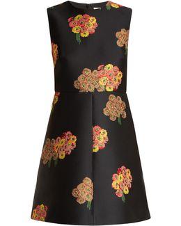 Floral-brocade Mini Dress