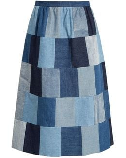 Patchwork Denim Midi Skirt