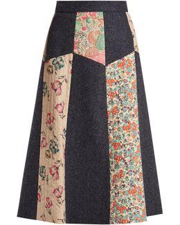 Patchwork Wool-herringbone Midi Skirt