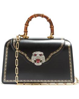 Frame-print Crystal-embellished Leather Bag