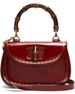 Bamboo-handle Leather Bag