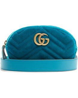 Gg Marmont Quilted-velvet Belt Bag