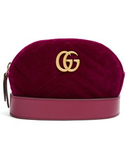 Gg Marmont Quilted-velvet Belt Bag
