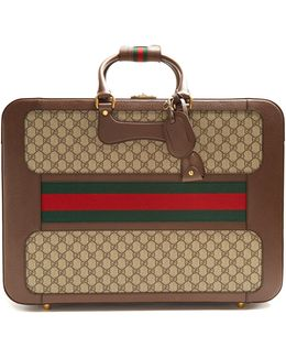 Gg Supreme Canvas And Leather Suitcase