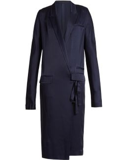 Kuiper Peak Lapel Tie-waist Satin Dress