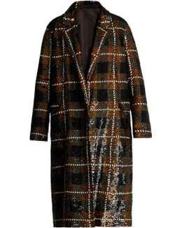 Checked Sequin-embellished Cotton Coat