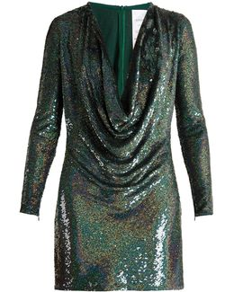Sequin-embellished Draped-front Silk Mini Dress