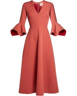 Linaria Handkerchief-cuff Crepe Midi Dress
