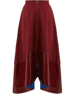 Oriana Contrast-hem Midi Skirt