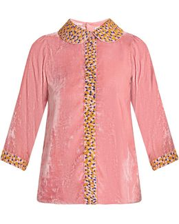 Holi Embroidered Silk-velvet Top