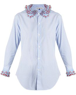 Crownbet Organza-trimmed Cotton-gingham Shirt