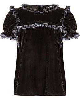 Laneway Ruffle-trimmed Silk-velvet Top