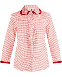 Herodes Velvet-trimmed Cotton-gingham Shirt
