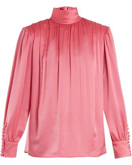 Roll-neck Gathered Silk-charmeuse Blouse