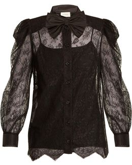 Bow-embellished Floral-lace Top