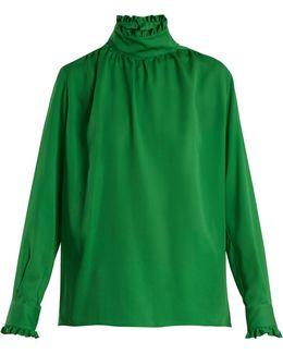 Ruffle-trimmed High-neck Silk Blouse