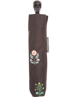 Skull And Floral-print Foldable Umbrella