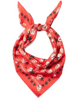 Star And Skull-print Silk Scarf