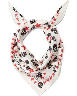 Star And Skull-print Silk Scarf