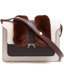 Trunk Medium Fur-trimmed Leather Shoulder Bag