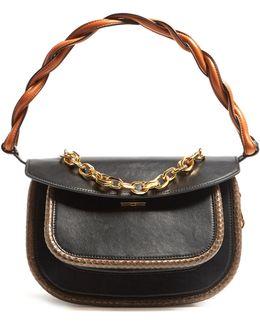 Titan Medium Snakeskin-trimmed Leather Bag