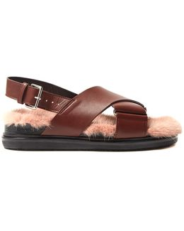 Fur-insole Leather Sandals