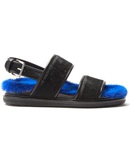 Fur-insole Calf-hair Sandals