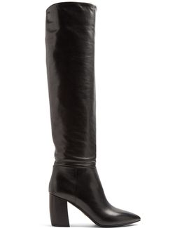 Point-toe Leather Knee-high Boots