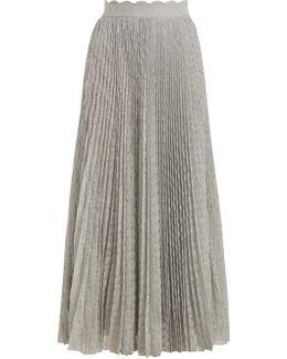 Pleated Geometric-knit Midi Skirt