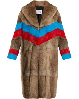 Striped Rabbit-fur Coat
