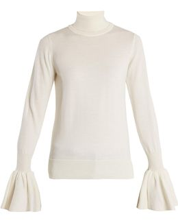 Fluted-cuff Wool Sweater