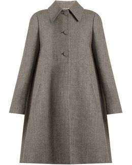 Hound's-tooth Checked Wool-blend Coat