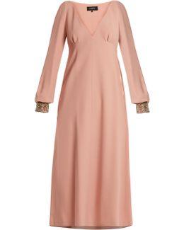 Embellished-cuff V-neck Cady Dress